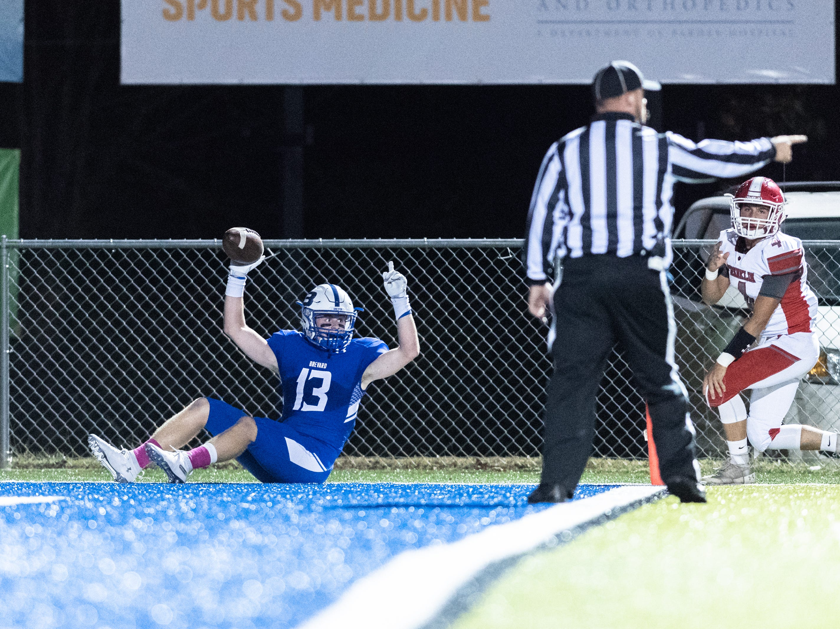 Brevard's Luke Ellenberger celebrates a touchdown during their Friday night football game against Franklin, Oct. 12, 2018.
