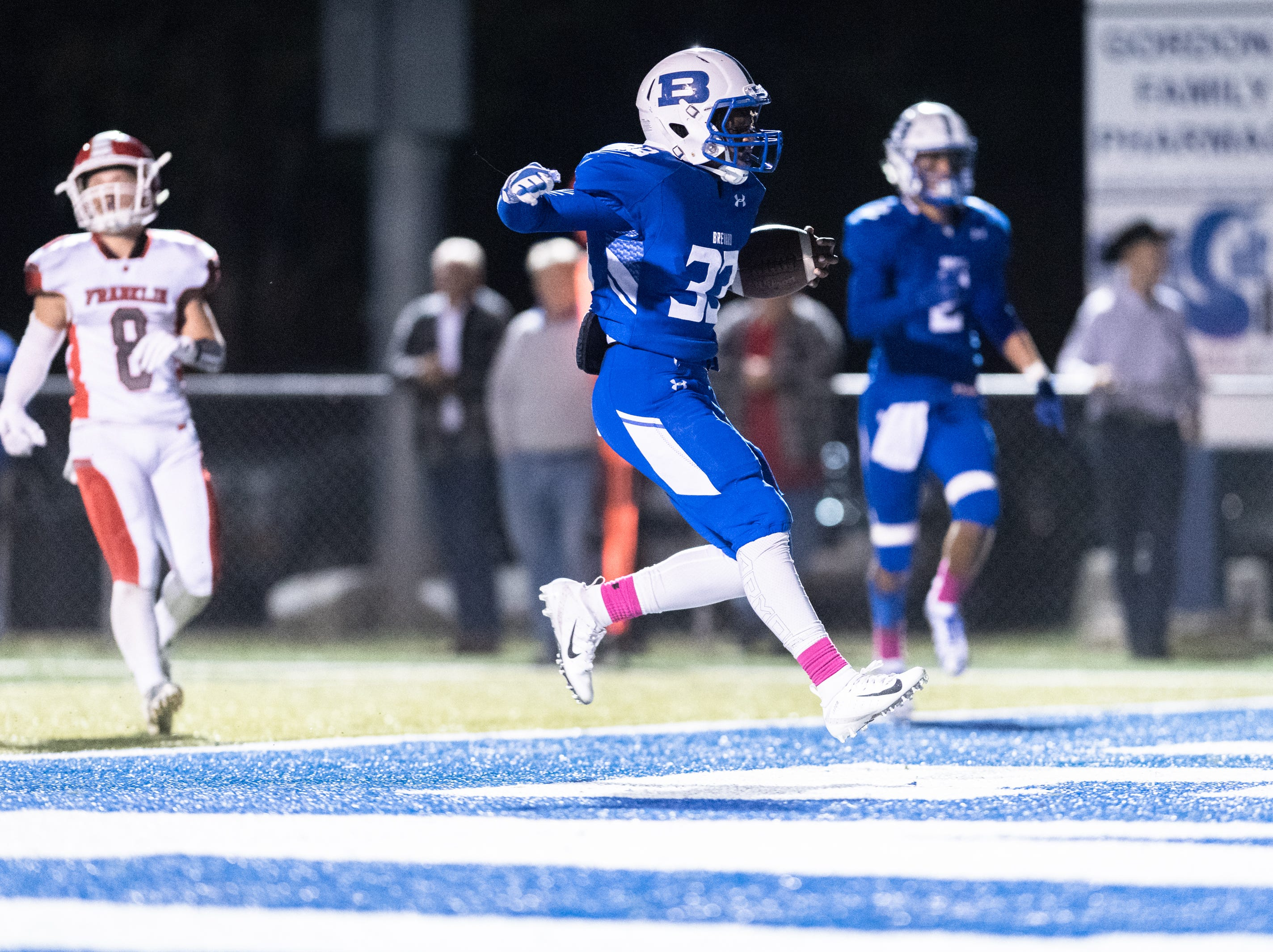 Brevard's D.K Deshauteurs runs into the endzone for a touchdown during their Friday night football game against Franklin, Oct. 12, 2018.