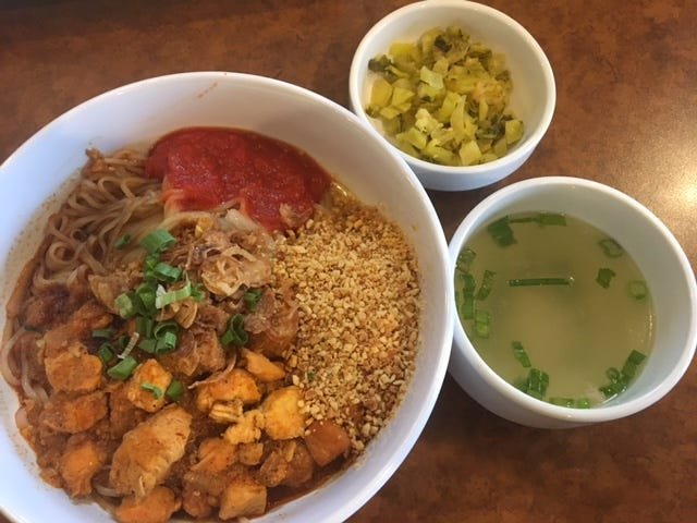 Looking for some authentic Burmese cuisine, Shwe Mandalay offers Shan Noodle, a signature dish of Eastern Burma.