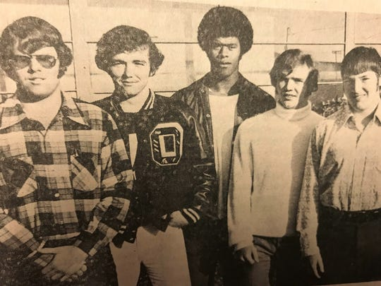 On the far right, Kenny Ford stands next to Bobby Ferguson, Porky Spencer, Mike Raines and David Sartin in 1973, when they were the five Owen Warhorses named to the all-county team for Buncombe County.