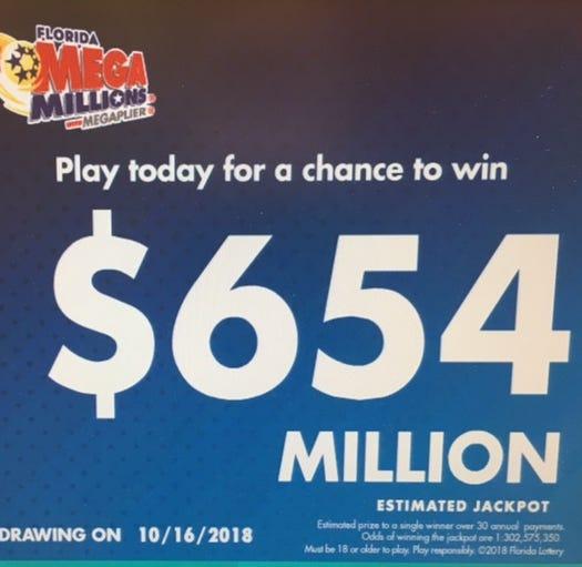 No winning Mega Millions ticket, jackpot now $654 million