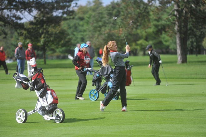 Shelby's Nicole Jones hits from the fairway on the 15th hole at Ohio State University's Scarlet Course.