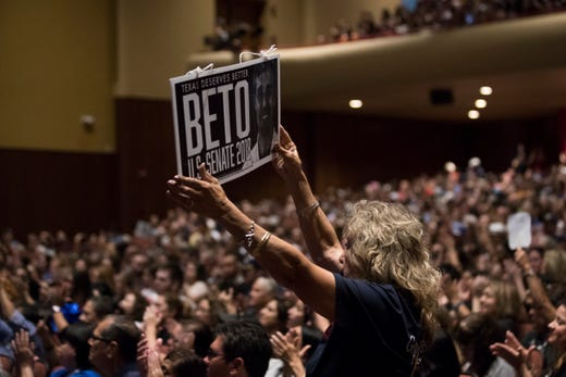 Supporters of U.S. Rep. Beto O'Rourke speaks in a campaign event on Saturday, Oct. 13, 2018 at Del Mar College, Corpus Christi.