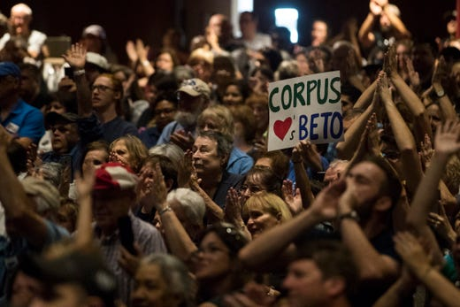 Supporters of U.S. Rep. Beto O'Rourke speaks in a campaign event on Saturday, Oct. 13, 2018 at Del Mar College in Corpus Christi.