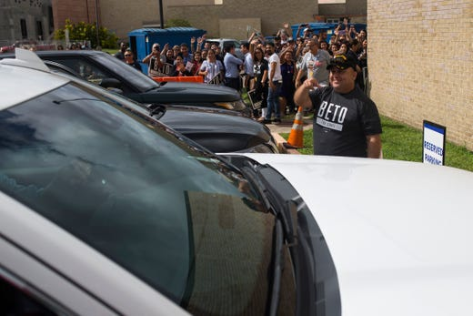 Beto O'Rourke is watching a campaign event on Saturday, Oct. 13, 2018 at Del Mar College in Corpus Christi.