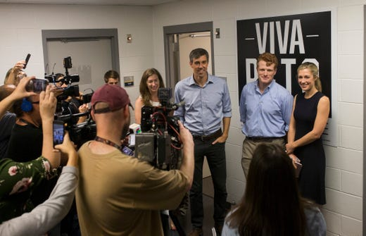Rep. Beto O'Rourke (left) and U.S. Rep. Joe Kennedy III speak with the media during a campaign event on Saturday, Oct. 13, 2018 at Del Mar College in Corpus Christi.