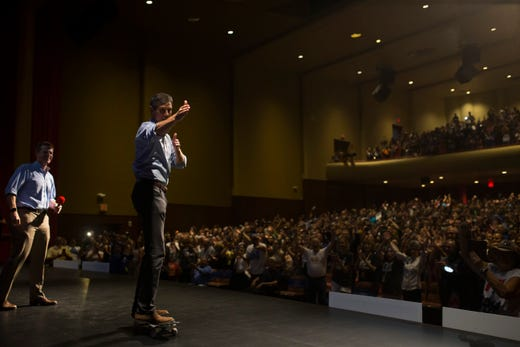 Rep. Beto O'Rourke skates onto the stage during a campaign event on Saturday, Oct. 13, 2018 at Del Mar College in Corpus Christi.