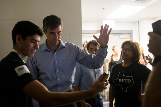 U.S. Rep. Beto O'Rourke speaks with supporters during a campaign event on Saturday, Oct. 13, 2018 at Del Mar College in Corpus Christi.