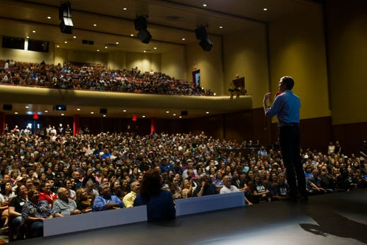 Rep. Beto O'Rourke speaks to supporters during a campaign event on Saturday, Oct. 13, 2018 at Del Mar College, Corpus Christi.