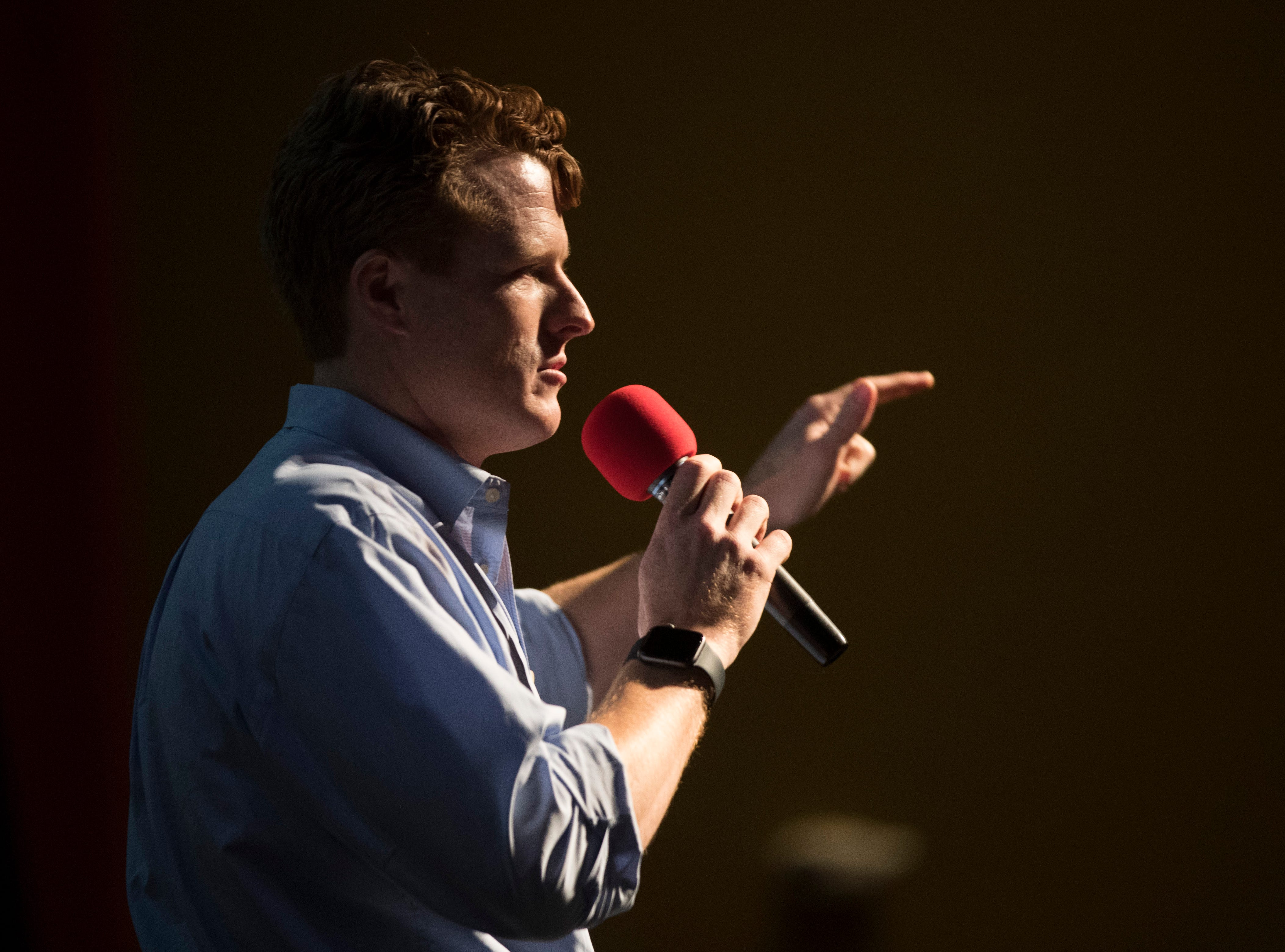 U.S. Rep. Joe Kennedy III speaks during a Beto O'Rourke campaign event on Saturday, Oct. 13, 2018 at Del Mar College in Corpus Christi.