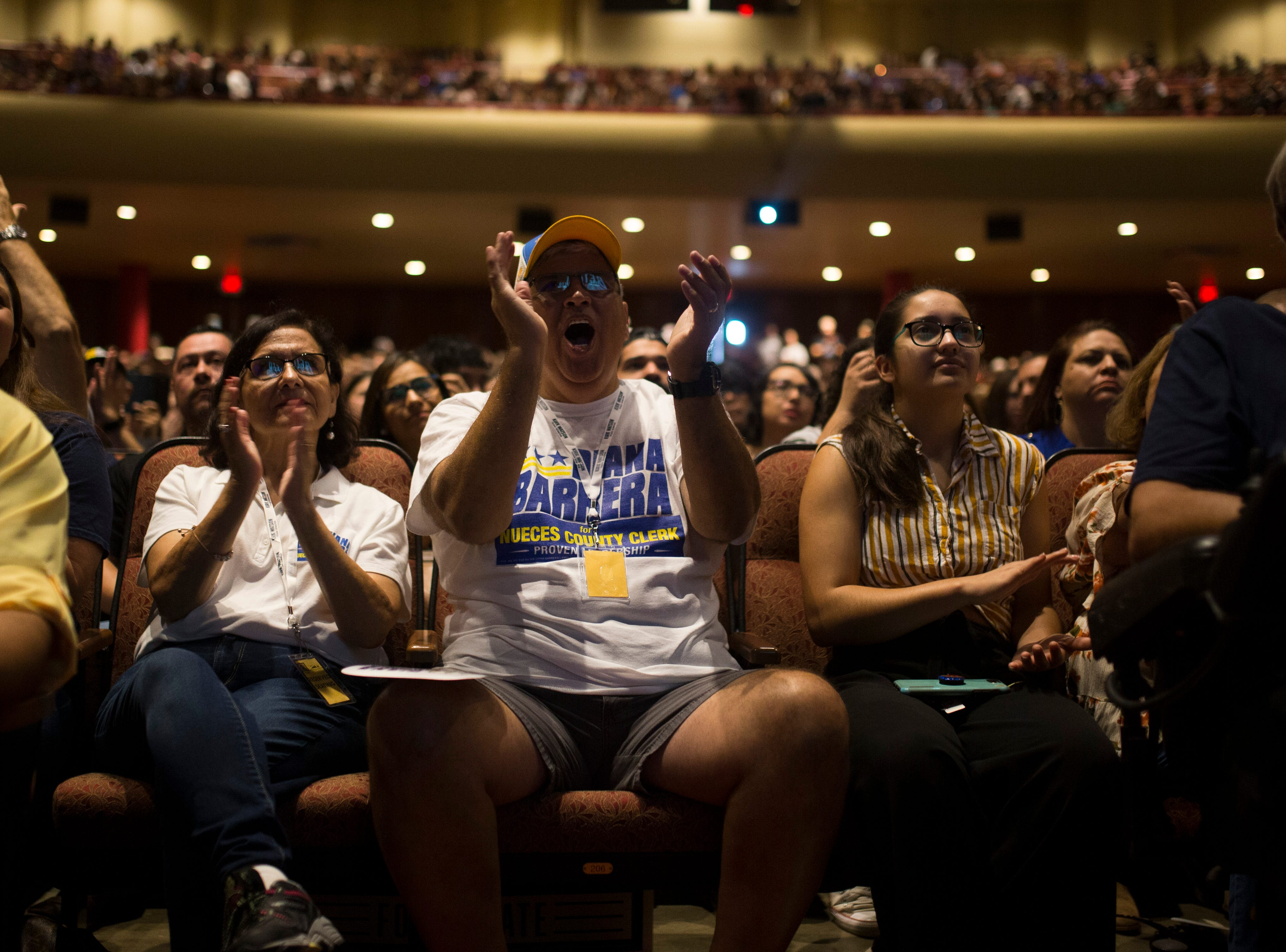 Supporters of U.S. Rep. Beto O'Rourke cheer as he speaks during a campaign event on Saturday, Oct. 13, 2018 at Del Mar College in Corpus Christi.