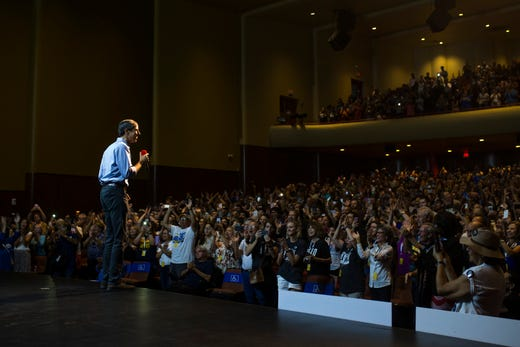 U.S. Rep. Beto O'Rourke speaks to supporters during a campaign event on Saturday, Oct. 13, 2018 at Del Mar College in Corpus Christi.