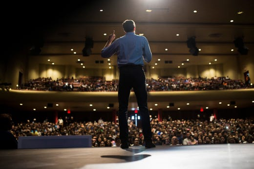 US Rep. Beto O'Rourke speaks to supporters during a campaign event on Saturday, Oct. 13, 2018 at Del Mar College in Corpus Christi.