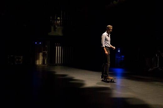 Rep. Beto O'Rourke skates on a skateboard 13, 2018 at Del Mar College in Corpus Christi.