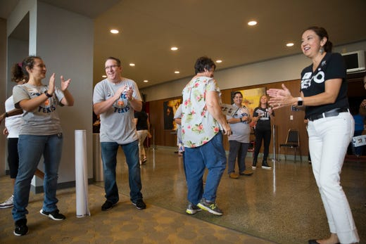 Supporters of Beto O'Rourke are greeted by a campaign event on Saturday, Oct. 13, 2018 at Del Mar College in Corpus Christi.