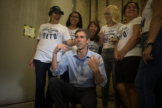 U.S. Rep. Beto O'Rourke takes photos with supporters after a campaign event on Saturday, Oct. 13, 2018 at Del Mar College in Corpus Christi.