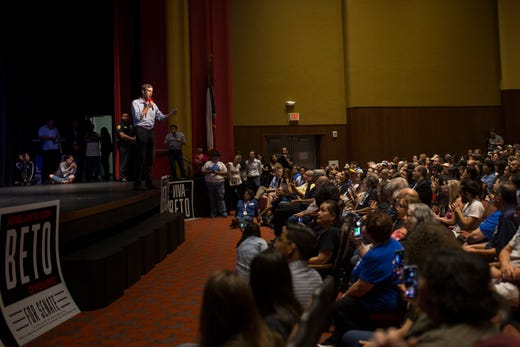 Rep. Beto O'Rourke speaks to supporters during a campaign event on Saturday, Oct. 13, 2018 at Del Mar College in Corpus Christi.