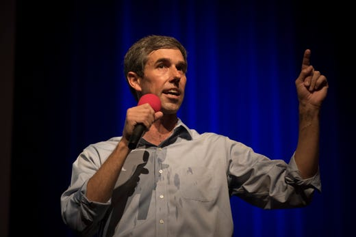 U.S. Rep. Beto O'Rourke speaks to supporters during a campaign event on Saturday, Oct. 13, 2018 at Del Mar College, Corpus Christi.