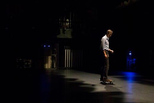 U.S. Rep. Beto O'Rourke skates on a skateboard 13, 2018 at Del Mar College in Corpus Christi.