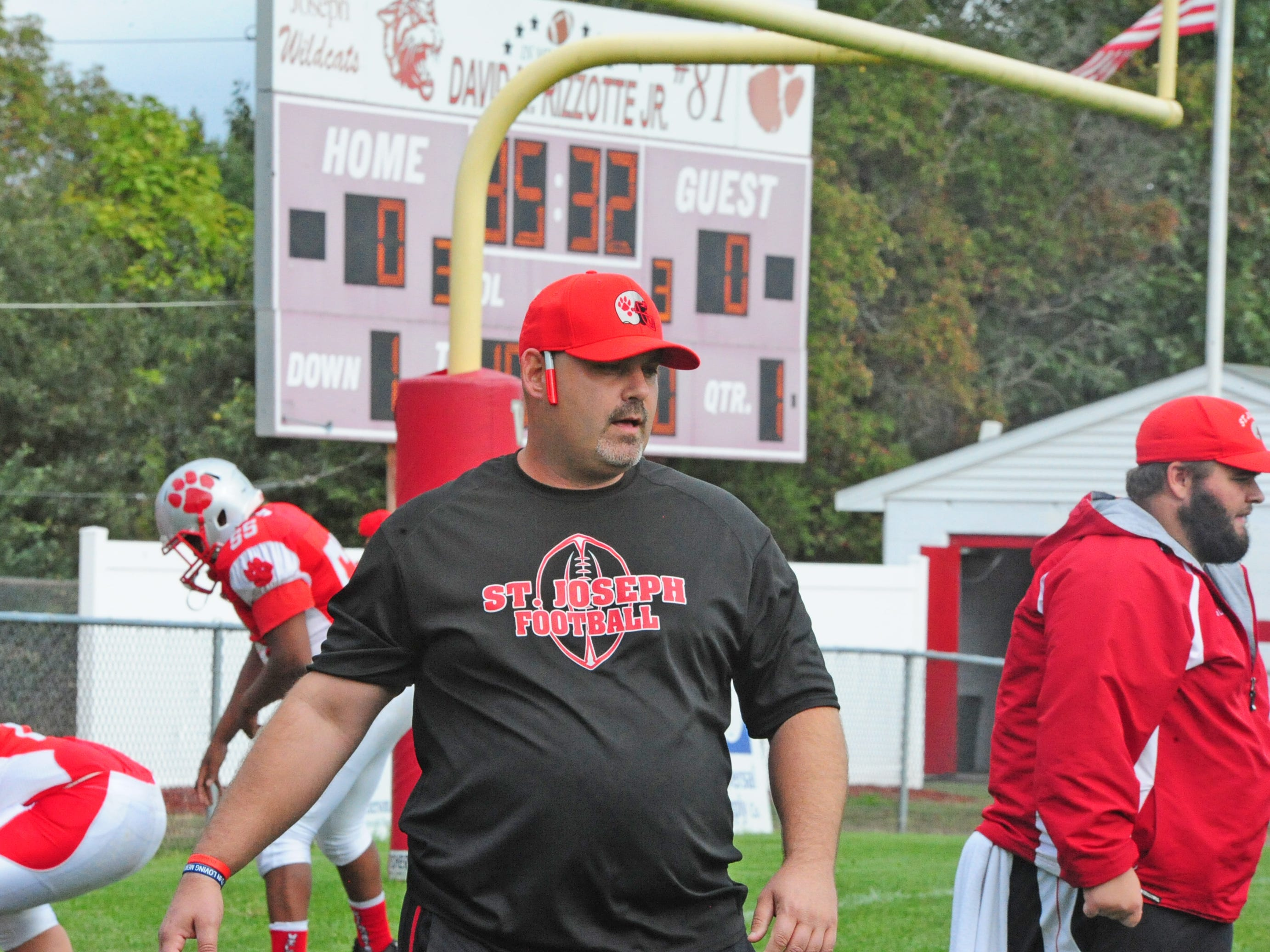 St. Joseph interim coach Rick Mauriello watches his team warm up before playing West Deptford in Hammonton on Saturday, October 13, 2018.
