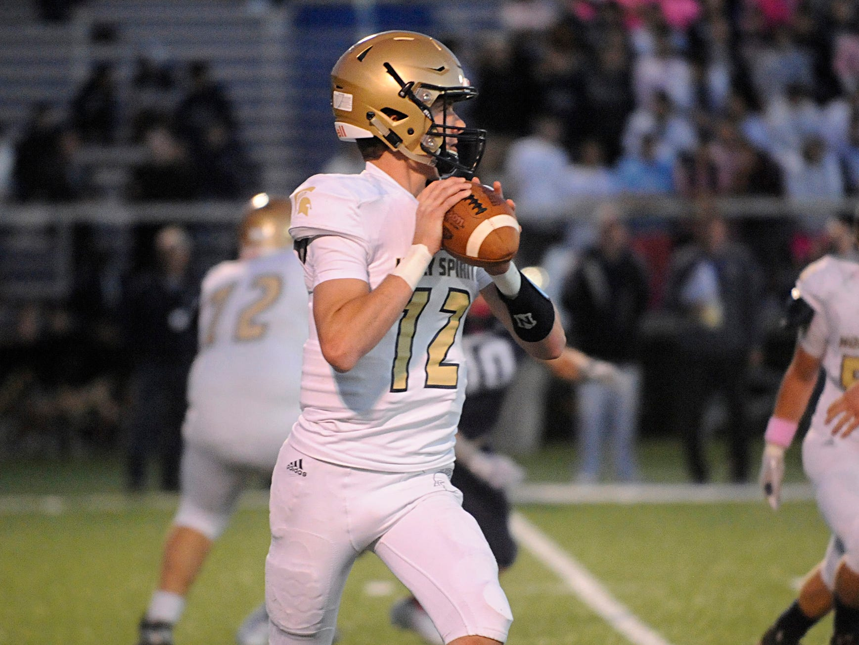 Holy Spirit's QB, Ryan Yost throws for a completion against St. Augustine. The Hermits defeated the visiting Spartans, 27-14 on Friday, October 12, 2018.