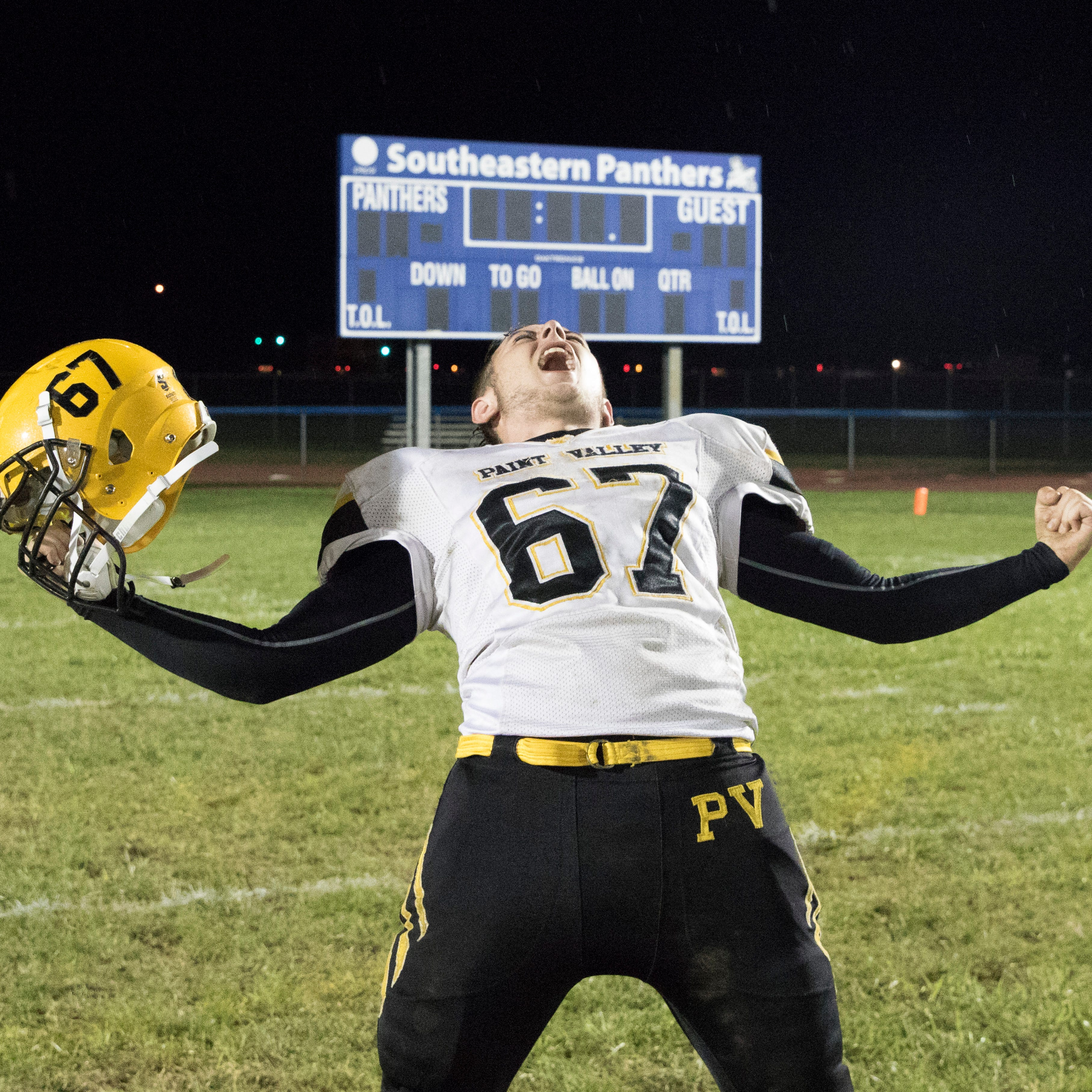 Paint Valley's Quintin Daniel celebrates after defeating Southeastern Friday night at Southeastern High School 35-27.