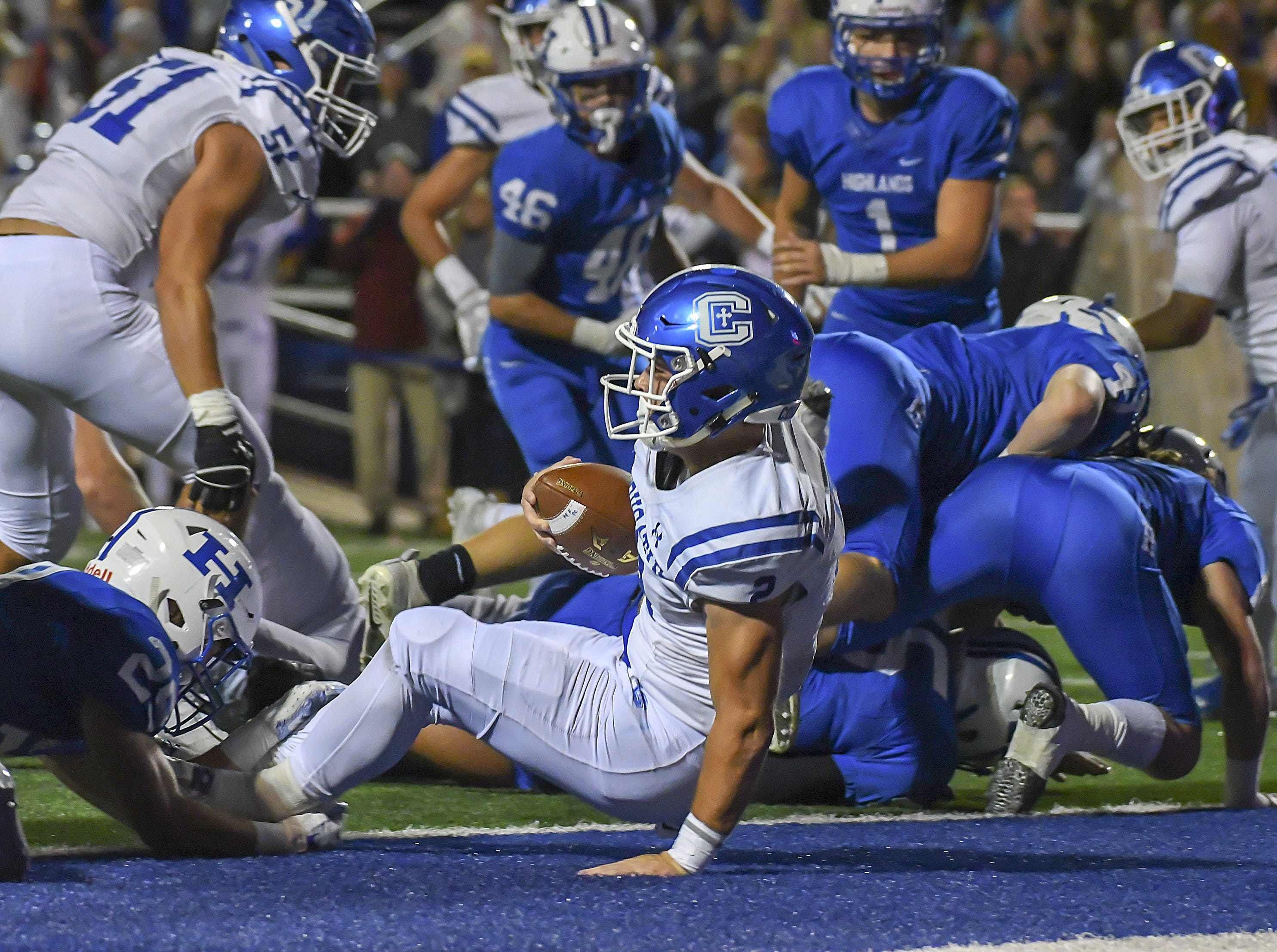Casey McGinness of Covington Catholic scores a touchdown against Highlands, Highlands High School, Ft. Thomas, KY, Friday, October 12, 2018