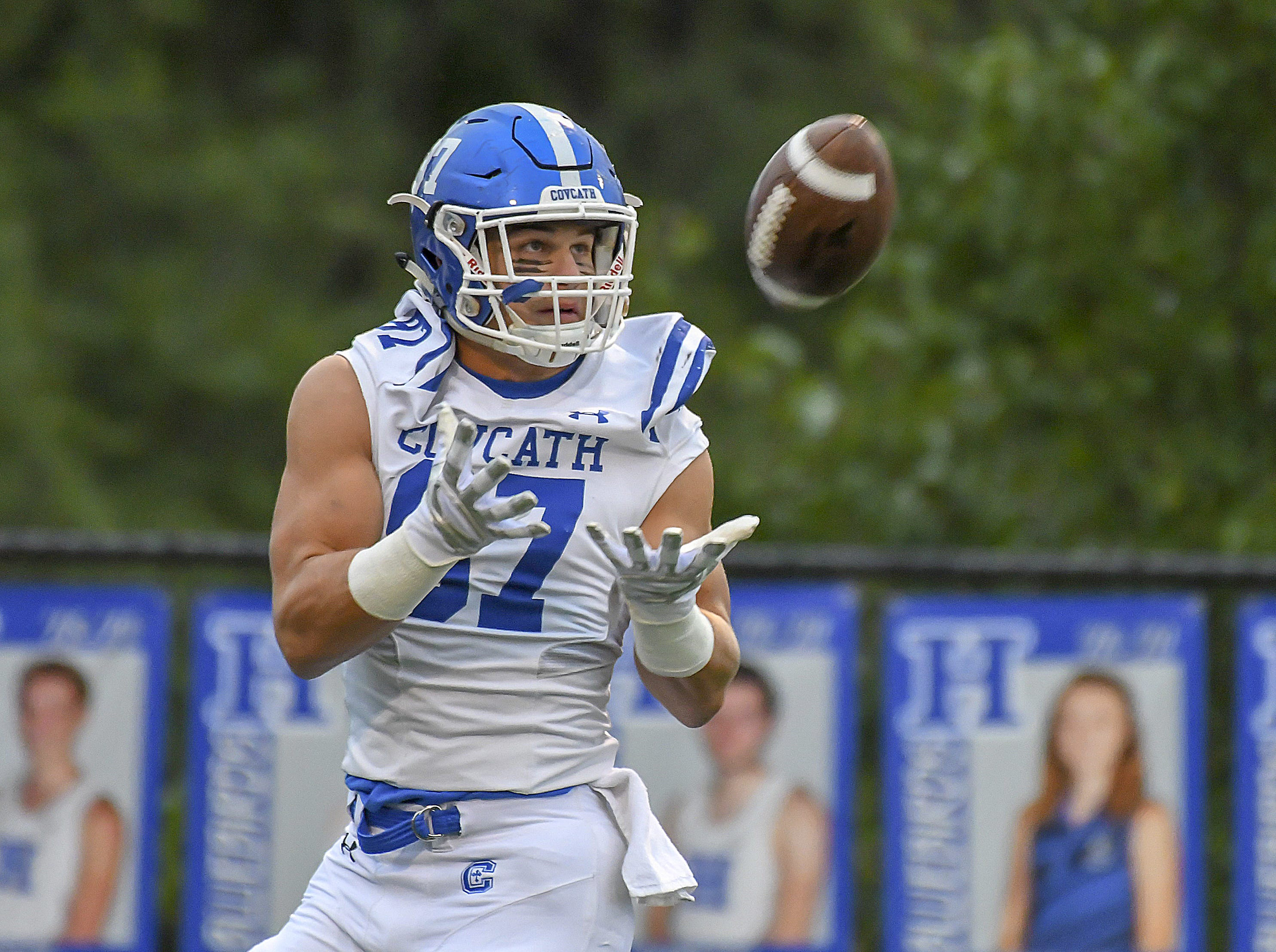 Michael Mayer of Covington Catholic warms up before their game against Highlands, Friday October 12, 2018