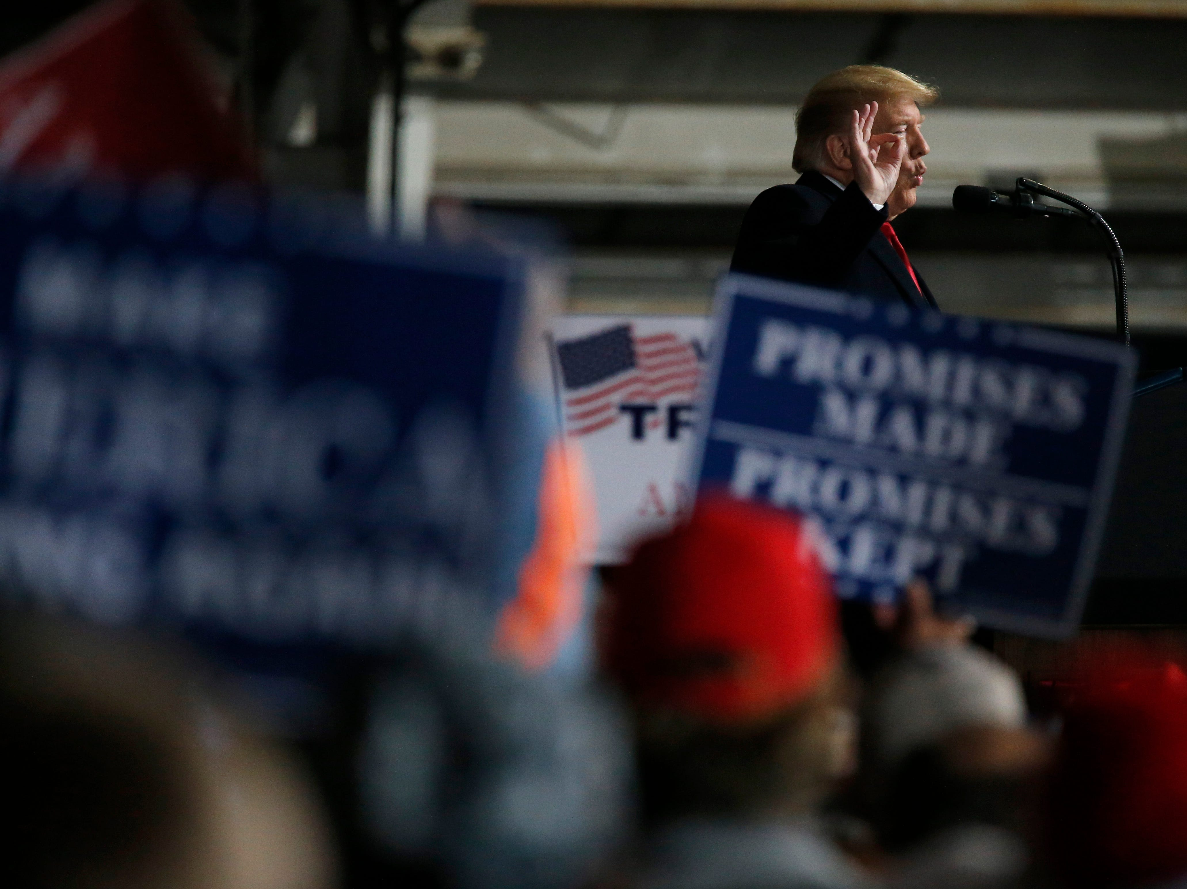President Donald Trump speaks during a Make America Great Again rally at the warren County Fair Grounds in Lebanon, Ohio, on Friday, Oct. 12, 2018.