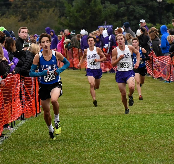 St. Xavier and Elder head to the finish line with the top four finishers at the 2018 GCL/GGCL Cross Country Championships, October 13, 2018.