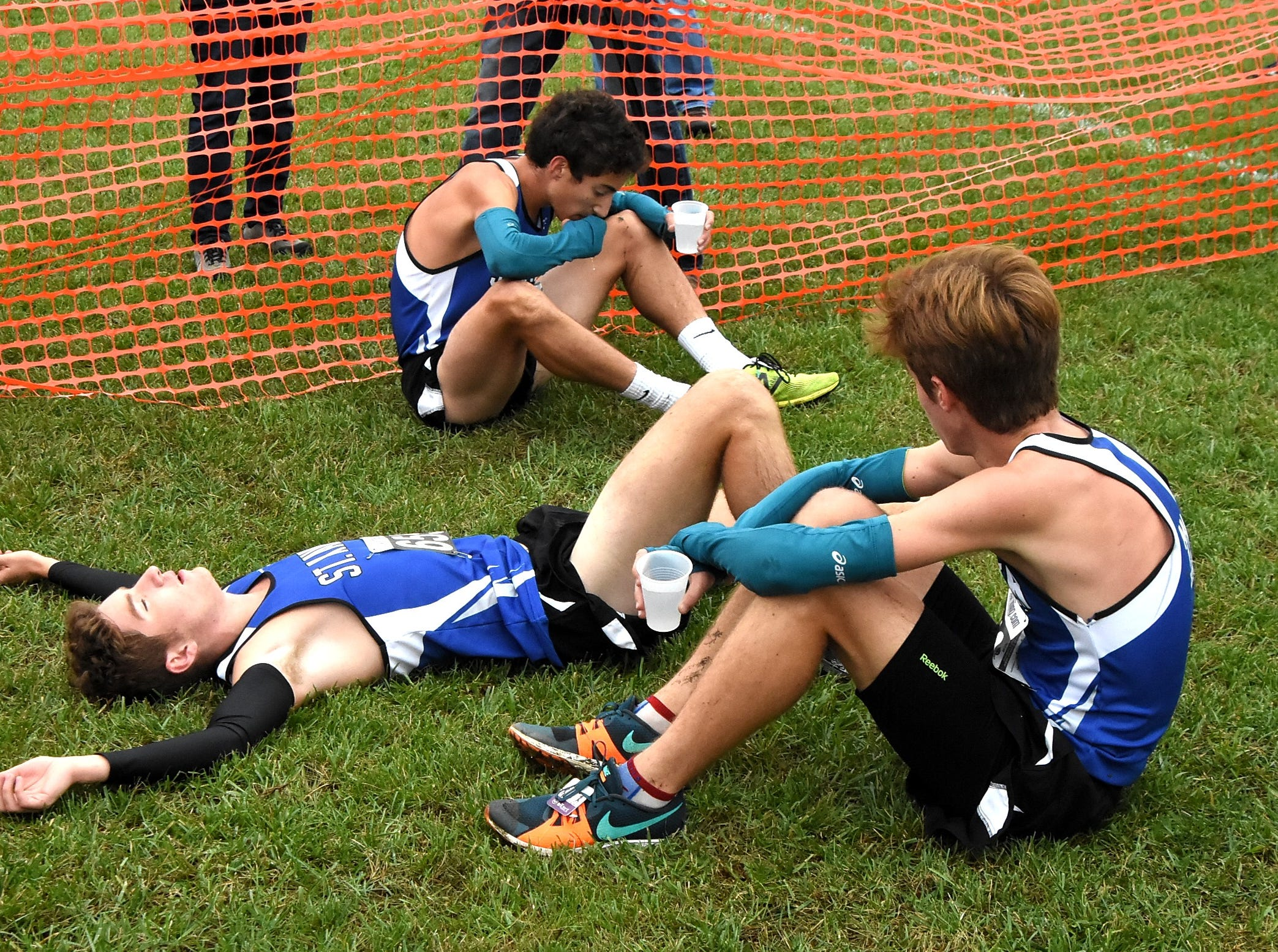 Exhausted runners from St. Xavier took home the team title at the 2018 GCL/GGCL Cross Country Championships, October 13, 2018.