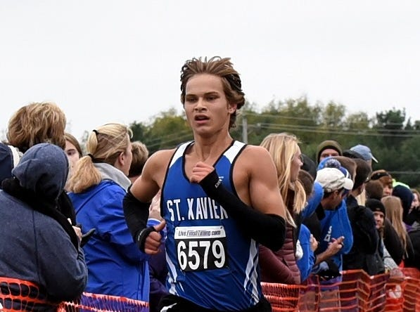 St. Xavier's Matthew Hoak runs to a fifth place finish at the 2018 GCL/GGCL Cross Country Championships, October 13, 2018.