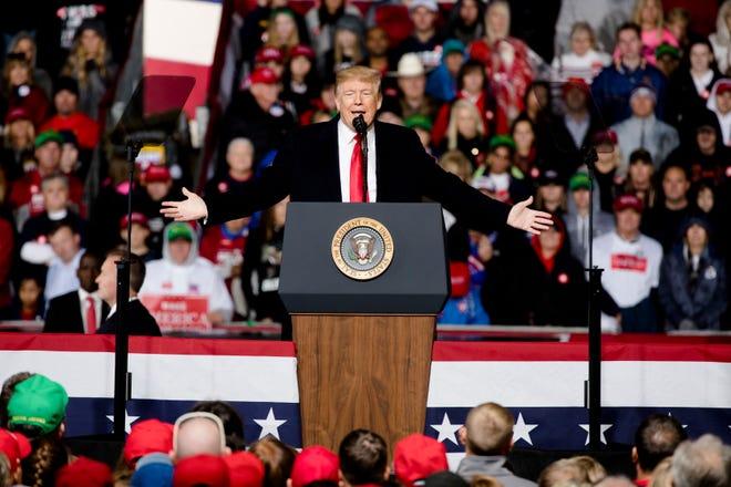 President Donald J. Trump speaks during President Donald J. Trump's Make America Great Again Rally in Lebanon, Ohio, on Friday, Oct. 12, 2018.