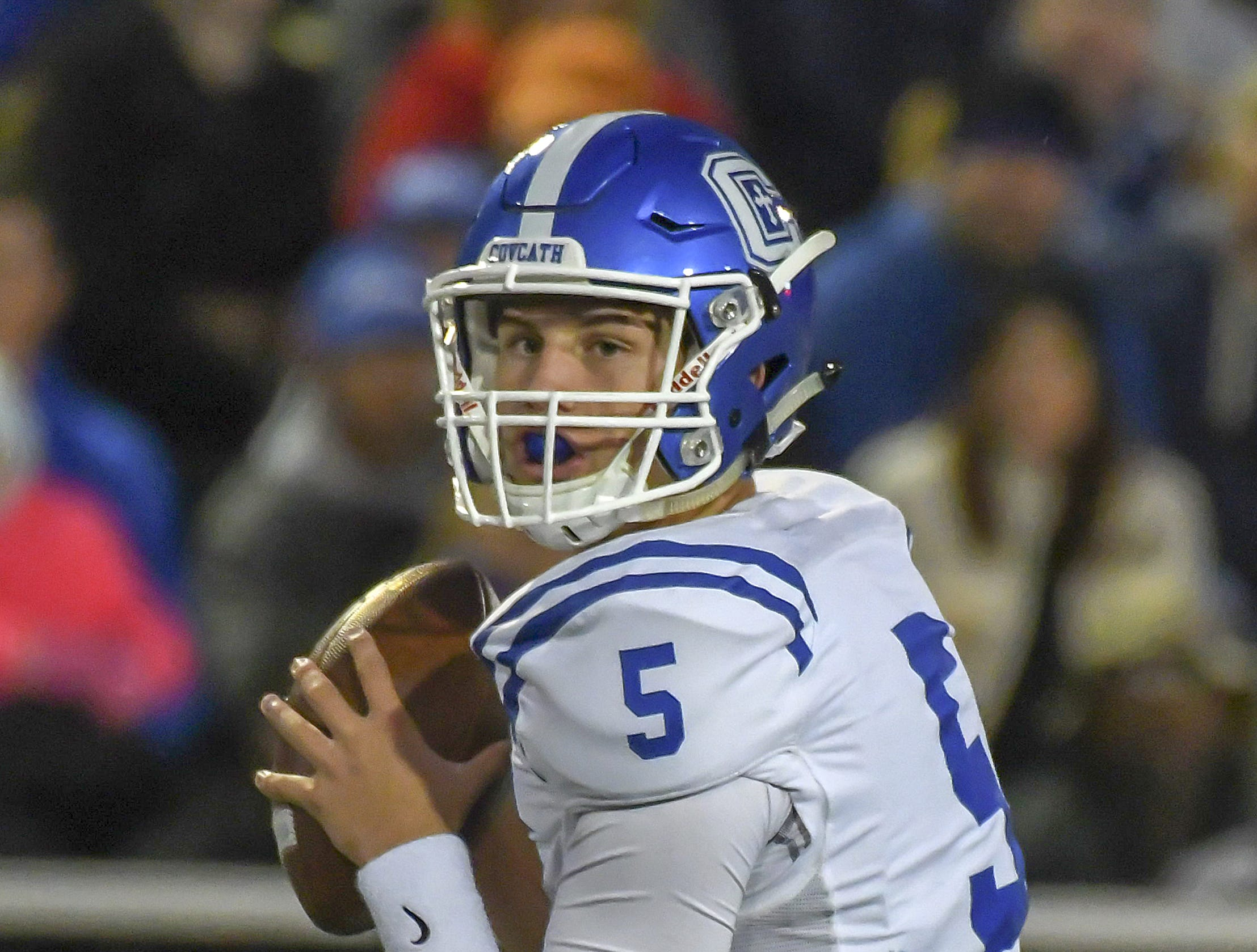 Covington Catholic quarterback Caleb Jacob attempts a pass against Highlands, Highlands High School, Ft. Thomas, KY, Friday, October 12, 2018