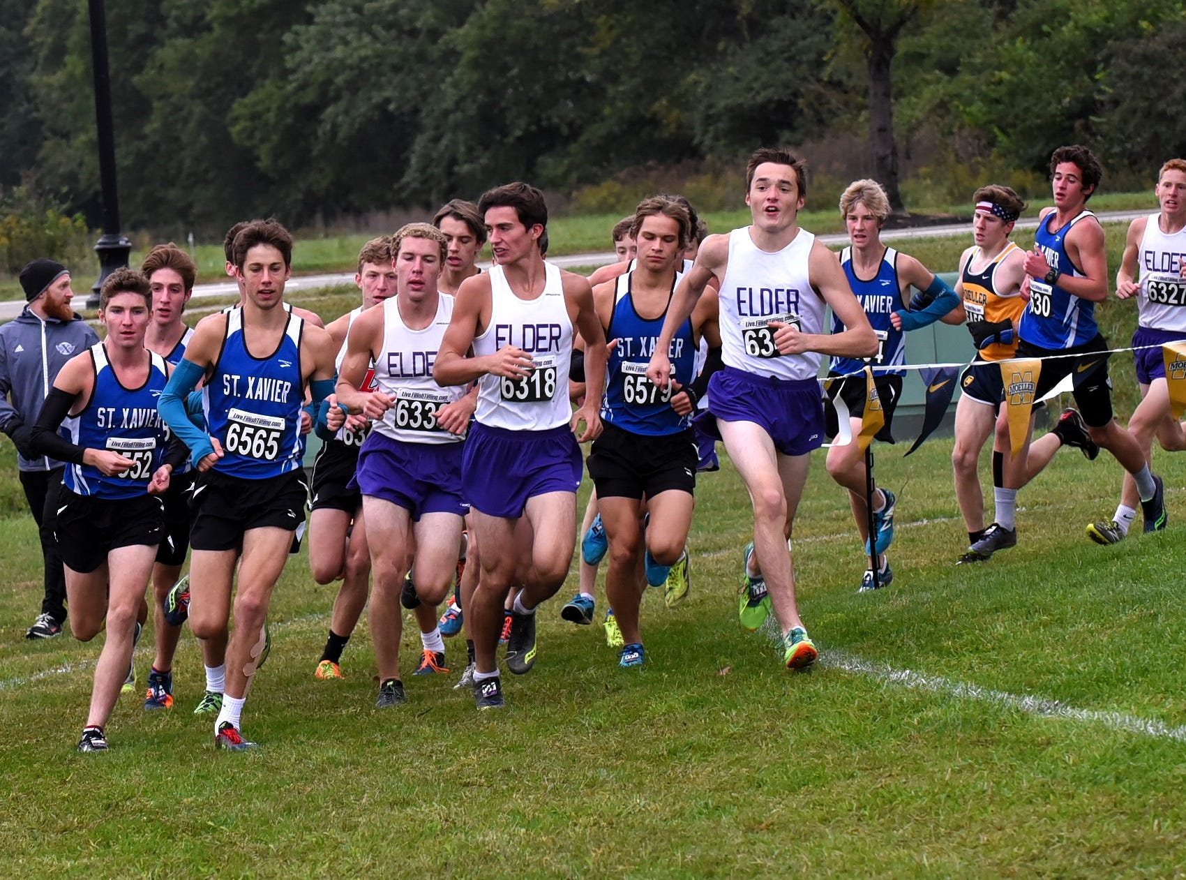 Elder and St. Xavier lead runners to the 1 mile mark at the 2018 GCL/GGCL Cross Country Championships, October 13, 2018.