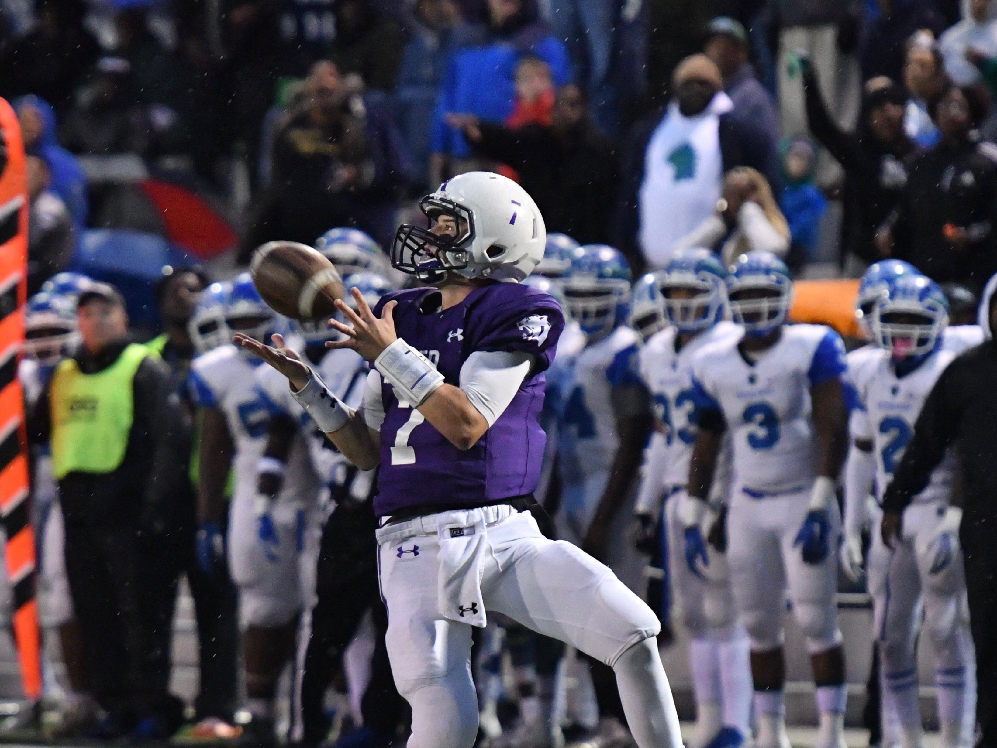 Elder's Matthew Luebbe brings in a touchdown pass against Winton Woods Friday, Oct. 12, 2018 at High School