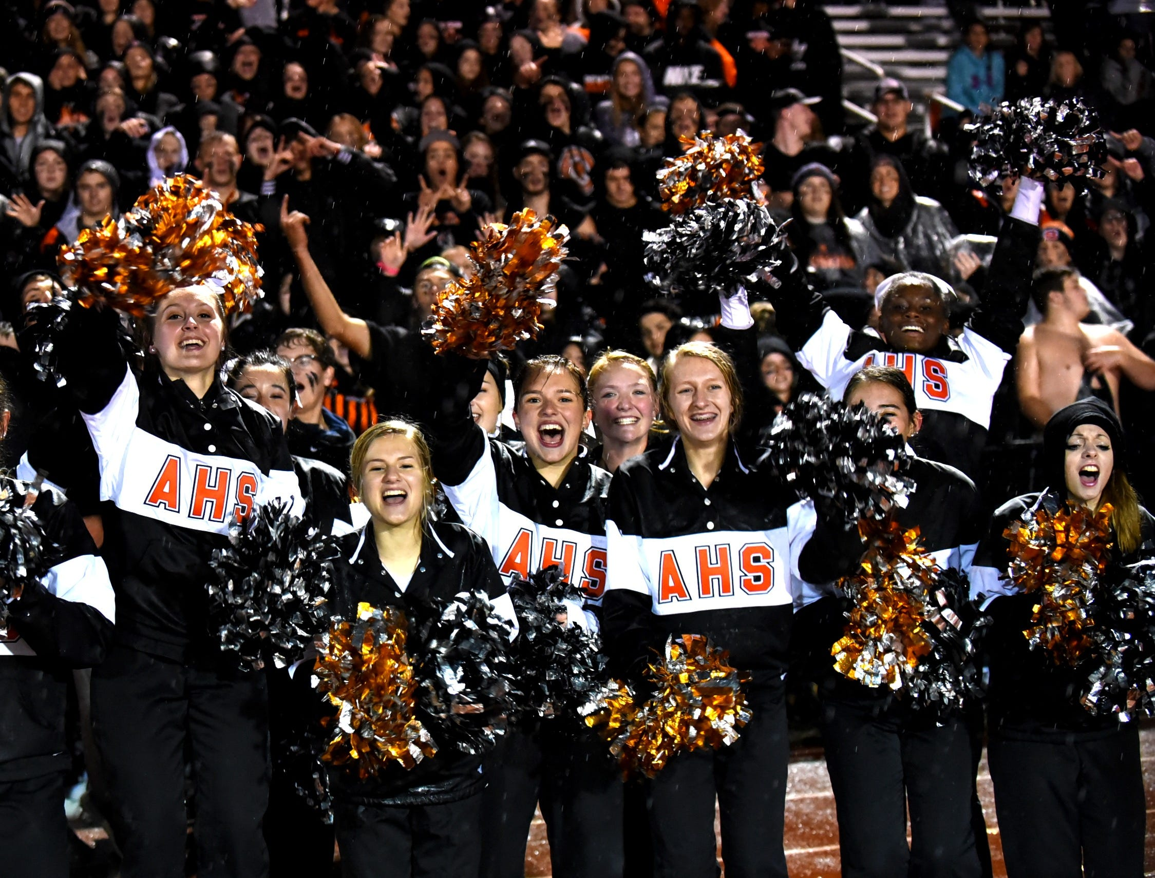 The Redskins Cheerleaders celebrate Anderson's crosstown win over rival Turpin, October 12, 2018.