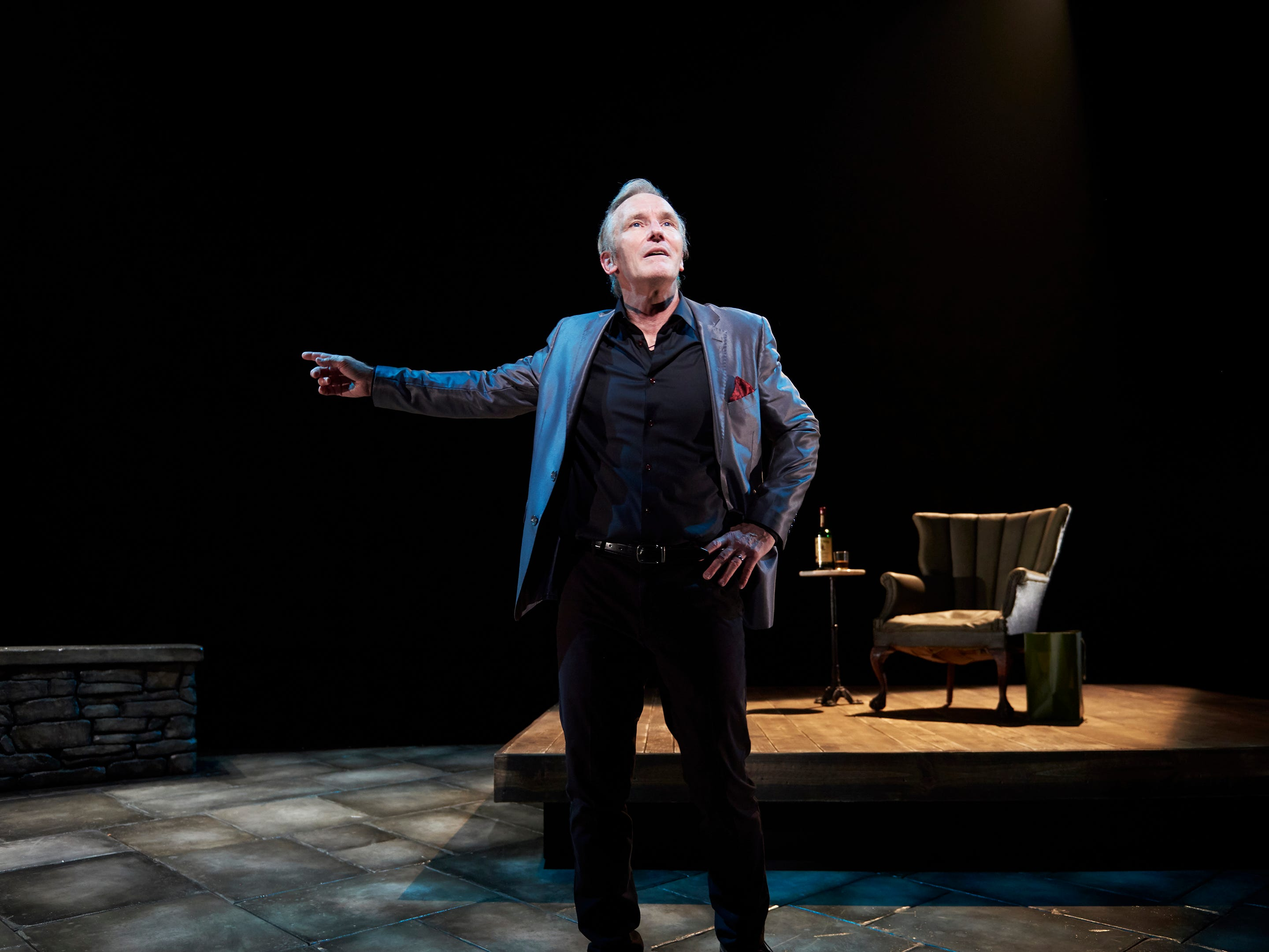 "The play may be called ""St. Nicholas."" But there is nothing remotely resembling the holiday spirit in this limited-engagement production of Conor McPherson's play about vampires who recruit a spiteful theater critic into their group. Seen here is Bruce Cromer, who stars in the one-person play, which runs through October 27 at Ensemble Theatre Cincinnati."