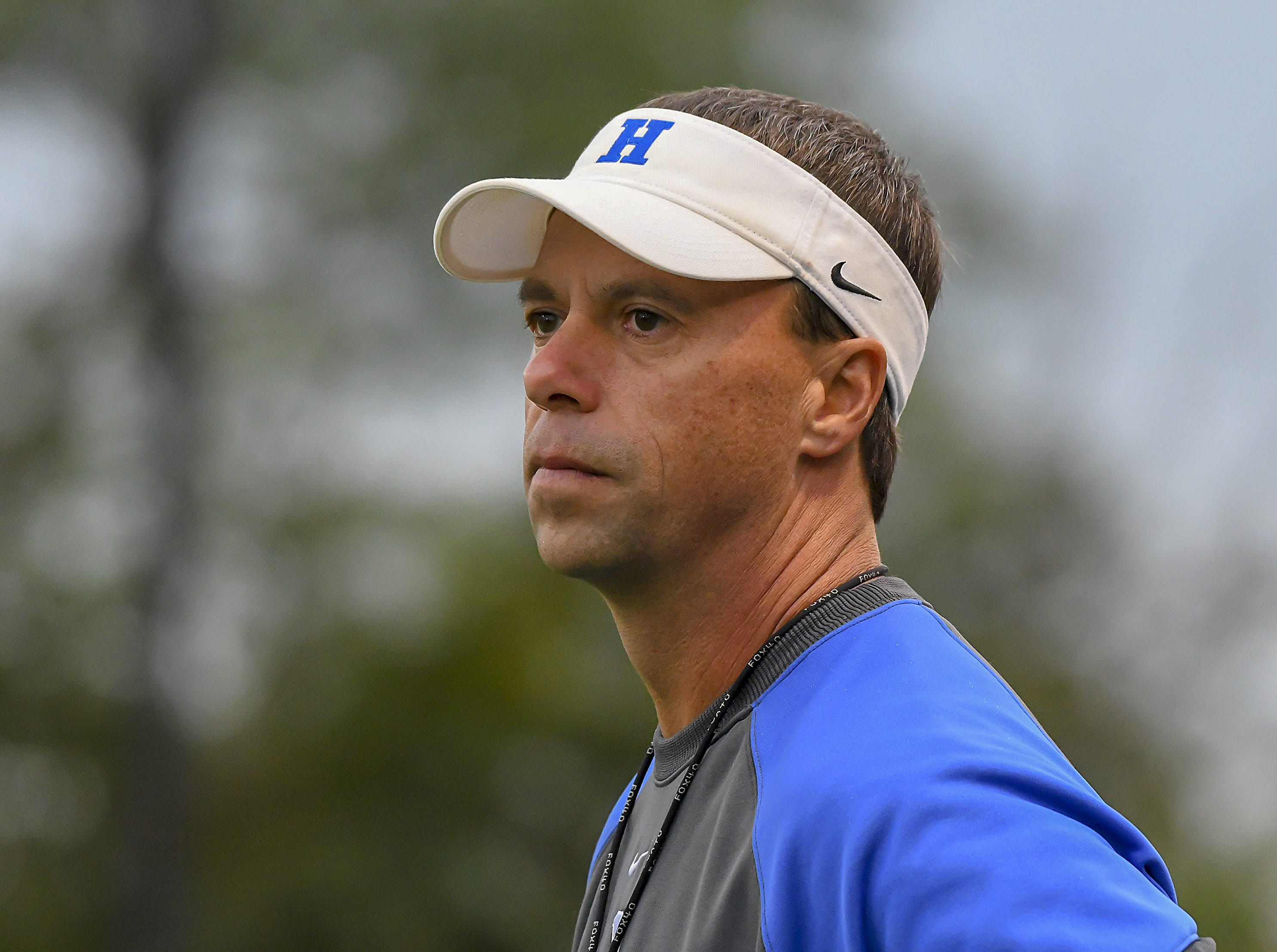 Highlands head coach Brian Weinrich watches his team play against Covington Catholic Friday, October 12, 2018