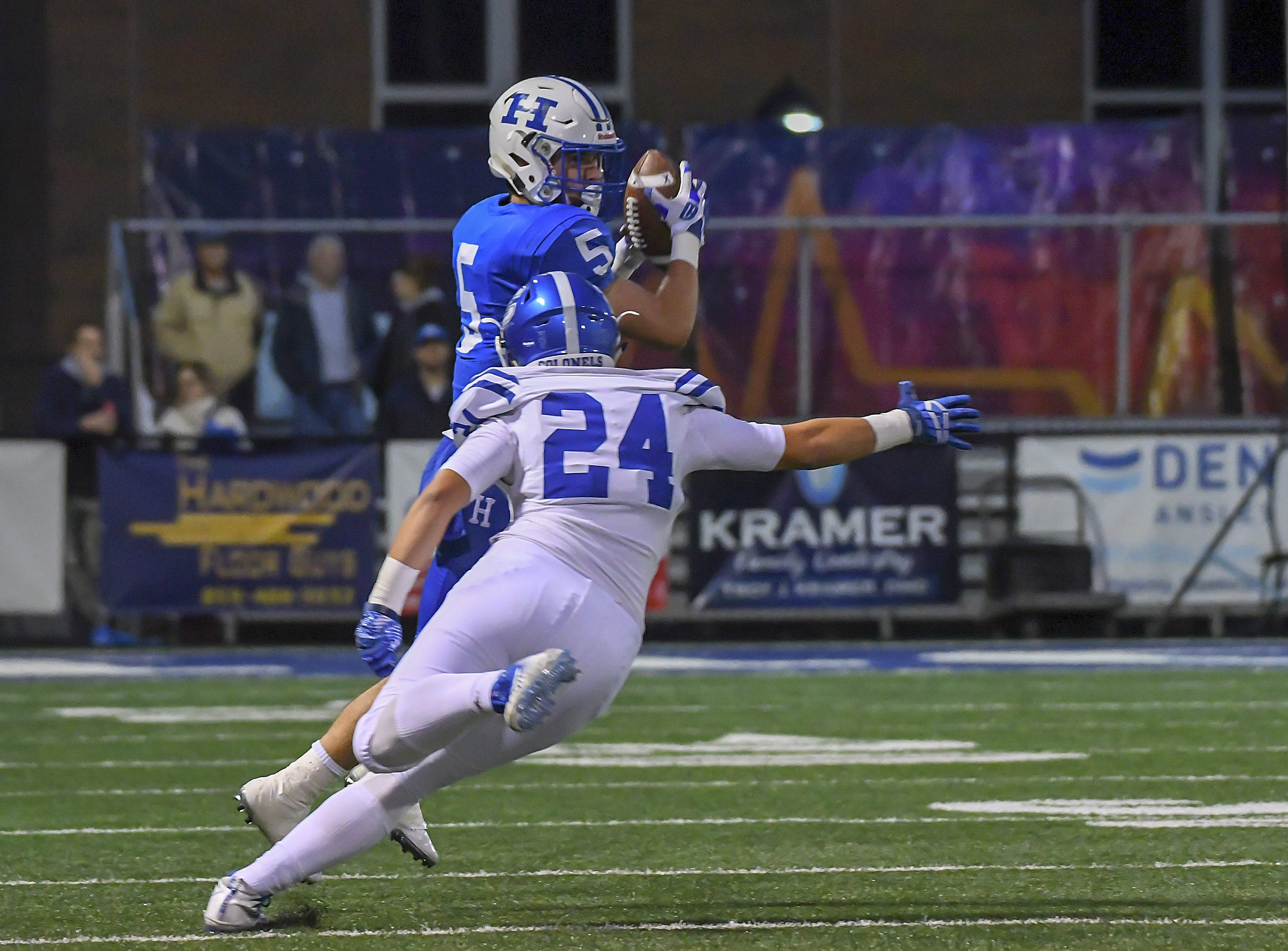 Cooper Schwalbach (5) of Highlands catches a pass against Covington Catholic, Highlands High School, Ft. Thomas, KY, Friday, October 12, 2018