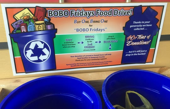 "The next ""Buy One, Bring One"" collection of food for Somerset County families and individuals in need will be held Friday, Oct. 19."