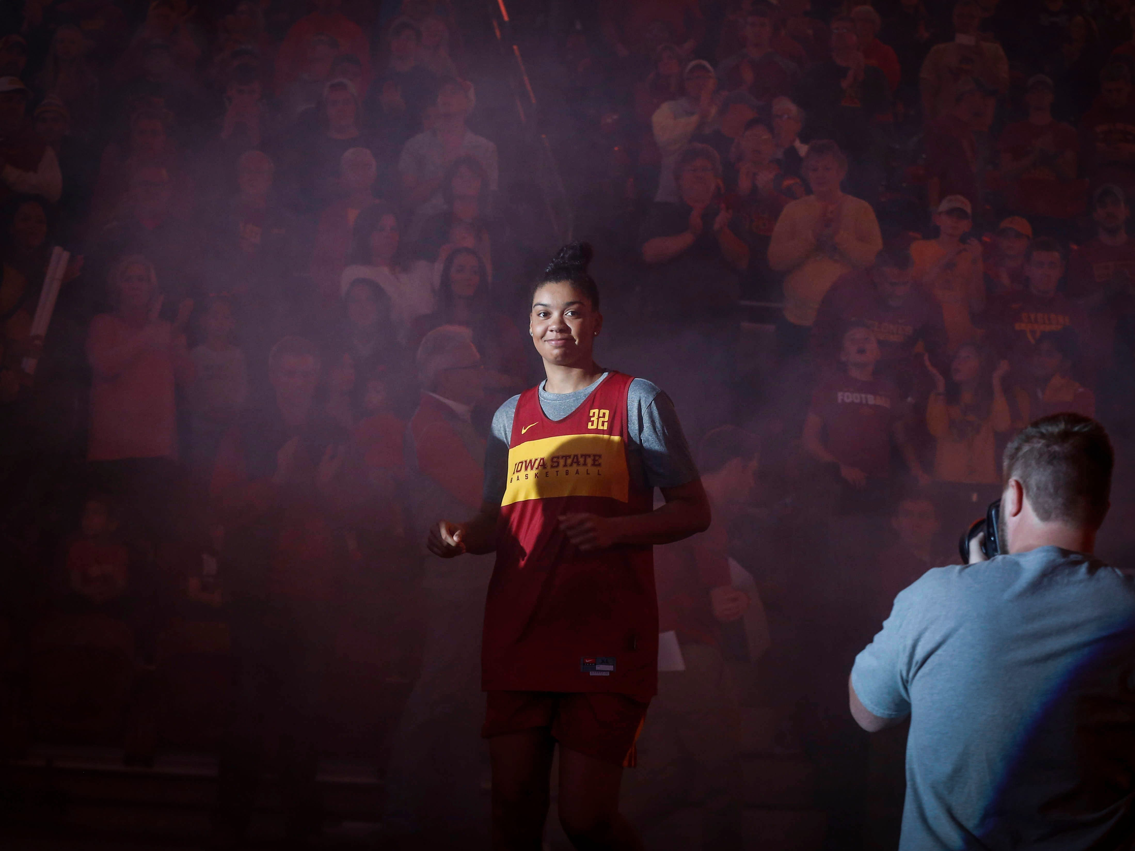 Iowa State senior forward Meredith Burkhall of Urbandale is introduced during Hilton Madness at Hilton Coliseum in Ames on Friday, Oct. 12, 2018.
