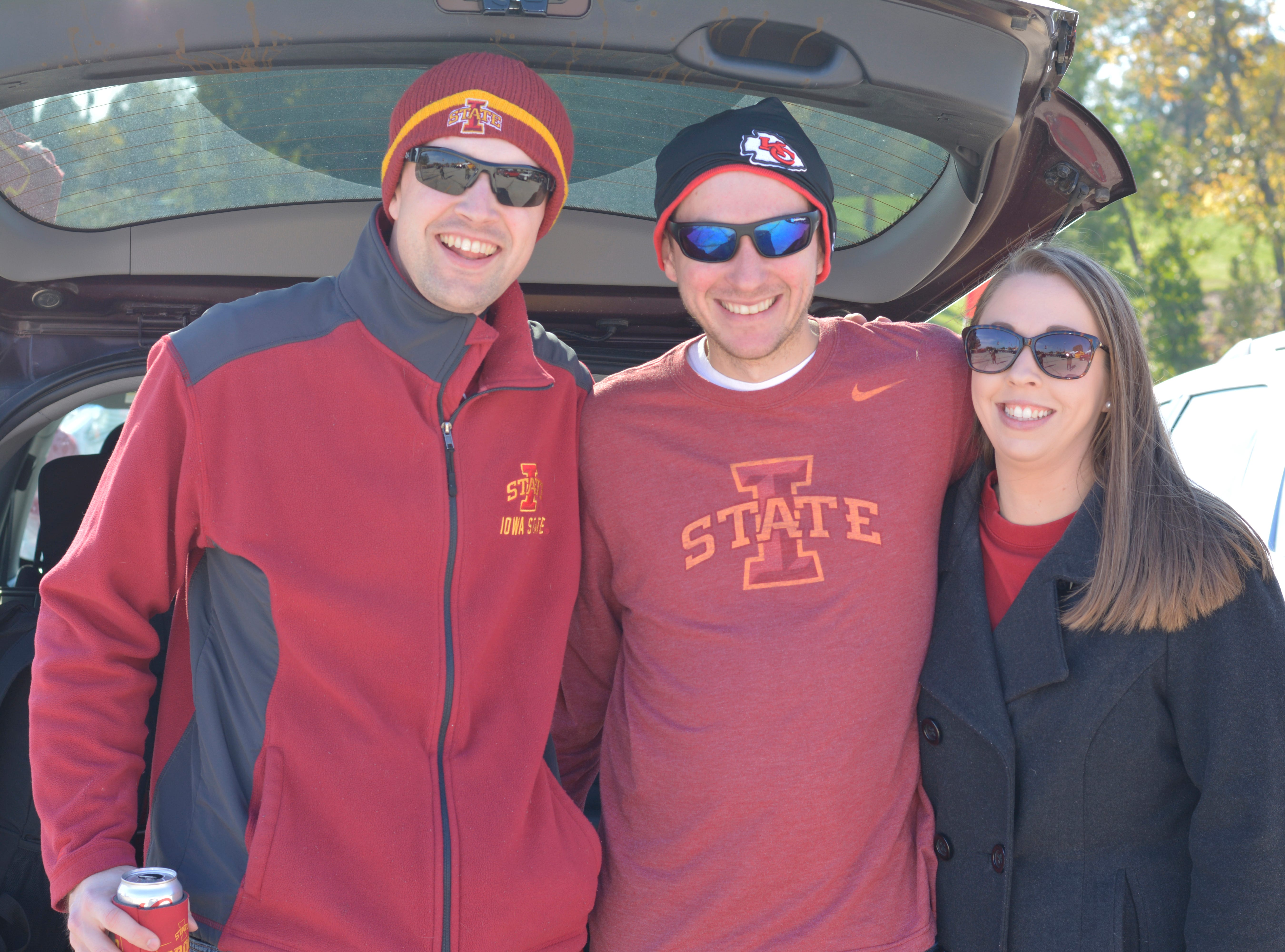 Andrew McDowell (left), Jared DeBoer (middle) and Melissa DeBoer (right) before the Iowa State University football game against West Virginia in Ames on Oct. 13.