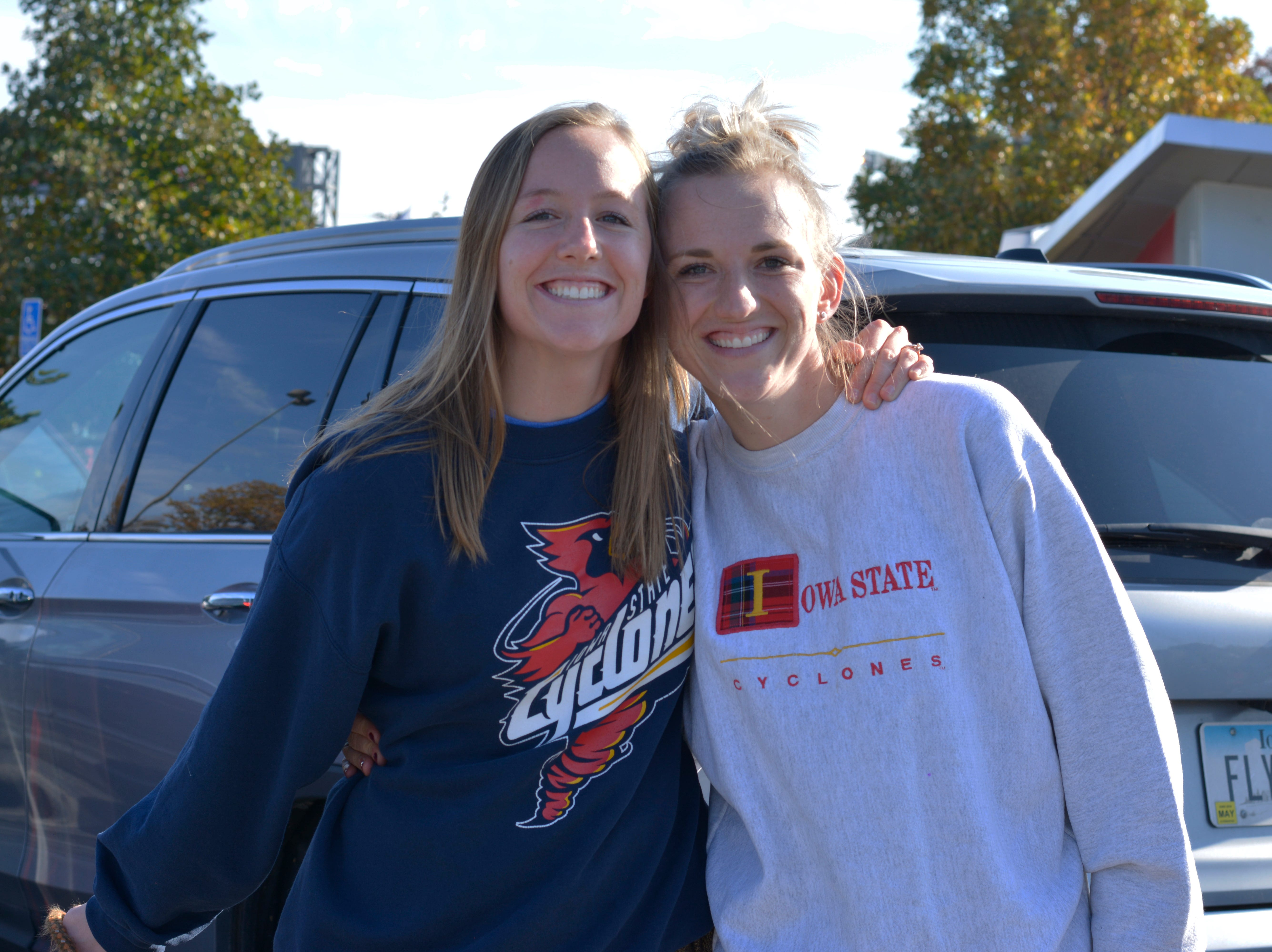 Molly Ferris (left) and Madelyn Sorensen (right) before the Iowa State University football game against West Virginia in Ames on Oct. 13.