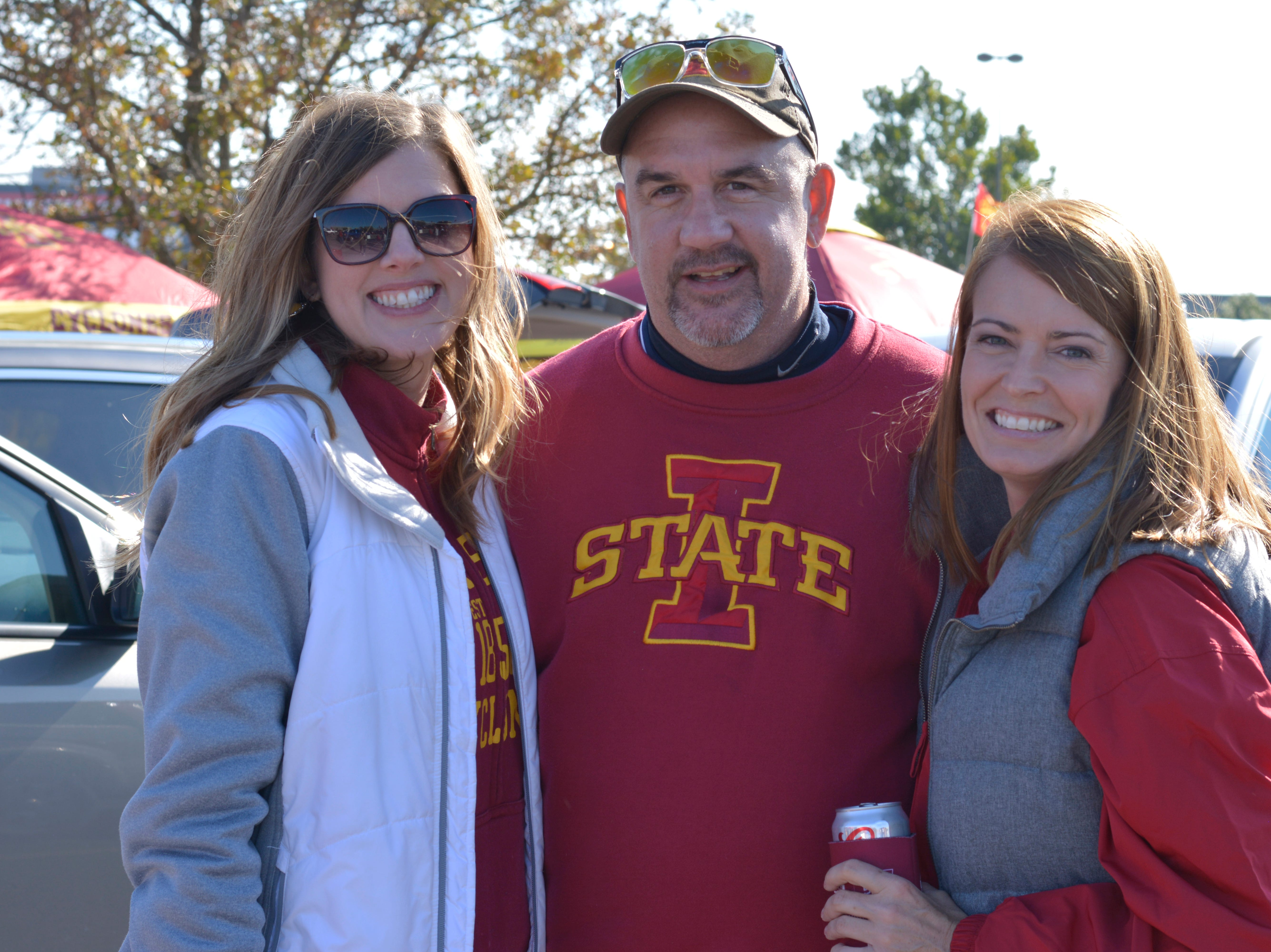 Jamie Mueller (left), Joe DiBlasi (middle) and Shannon Harden (right) before the Iowa State University football game against West Virginia in Ames on Oct. 13.