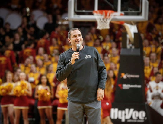 Iowa State head men's basketball coach Steve Prohm speaks to the crowd before the activities began during Hilton Madness at Hilton Coliseum in Ames on Friday, Oct. 12, 2018.