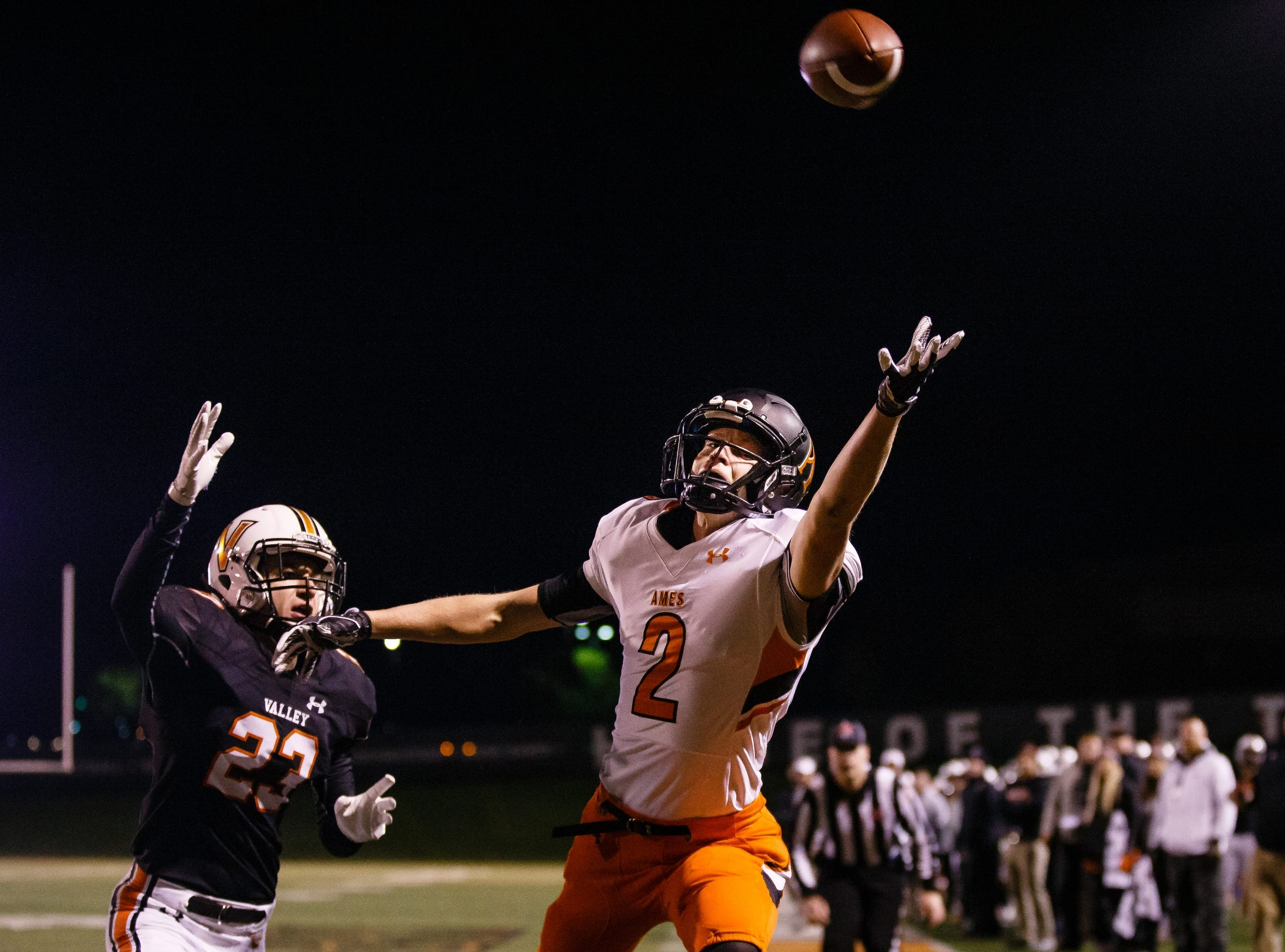 Ames' Will Krapfl (2) can't reach a pass during their football game against Valley at Valley Stadium on Friday, Oct. 12, 2018, in West Des Moines. Valley takes a 31-0 lead into halftime.