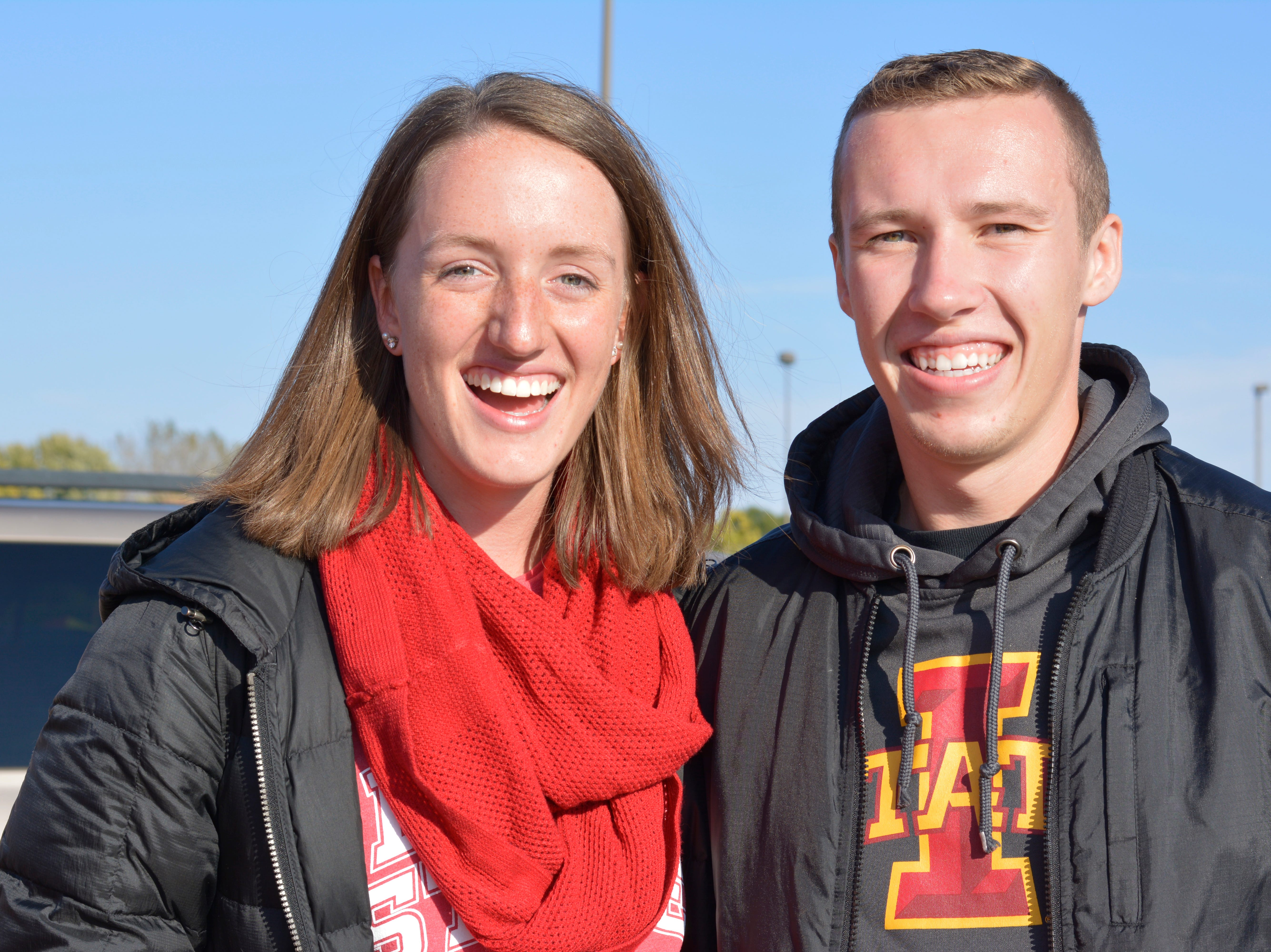 Emily Seibel and Isaac Hoffman before the Iowa State University football game against West Virginia in Ames on Oct. 13.