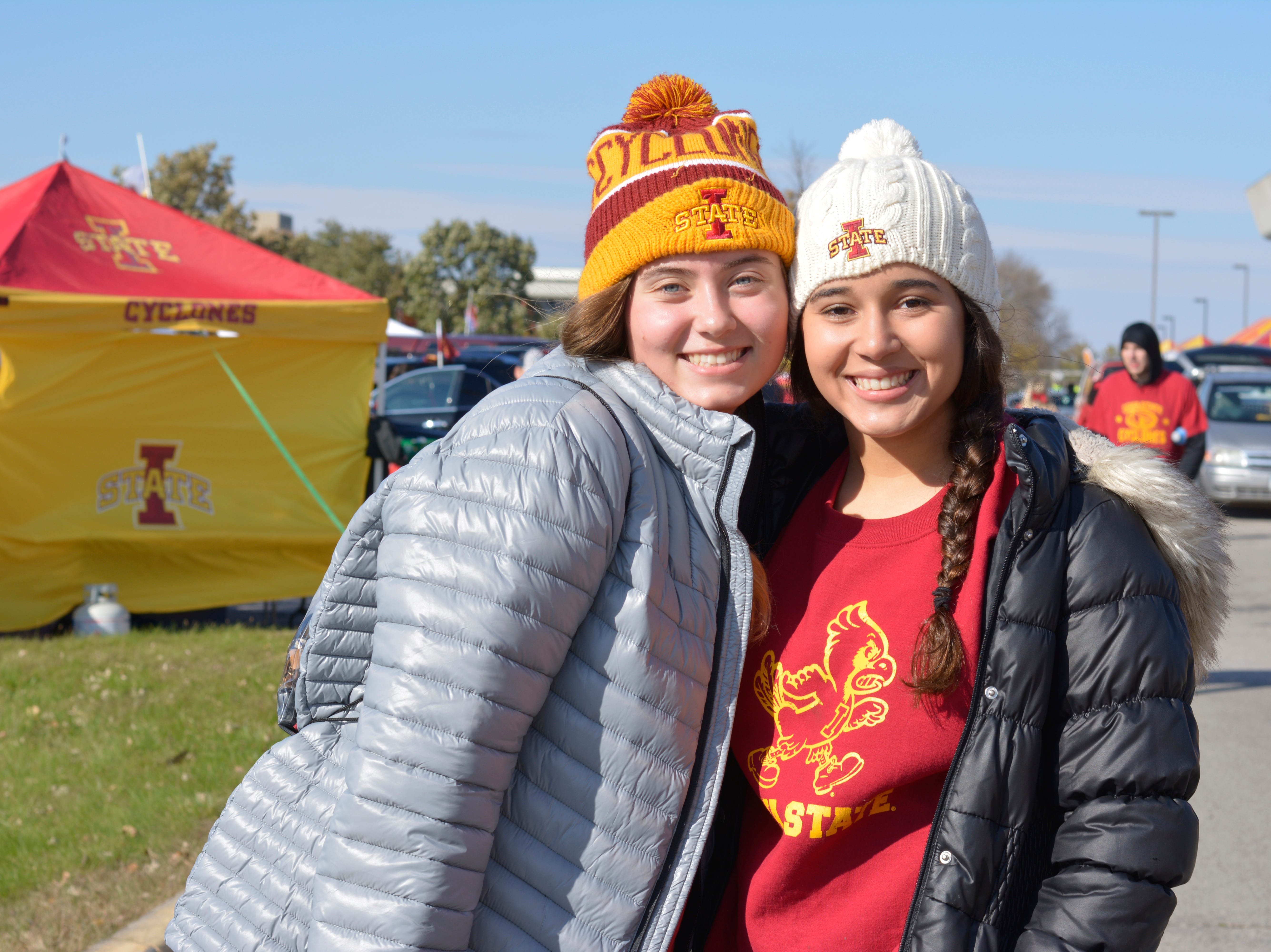Ajla Ikeljic (left) and Grace Pearson (right) before the Iowa State University football game against West Virginia in Ames on Oct. 13.