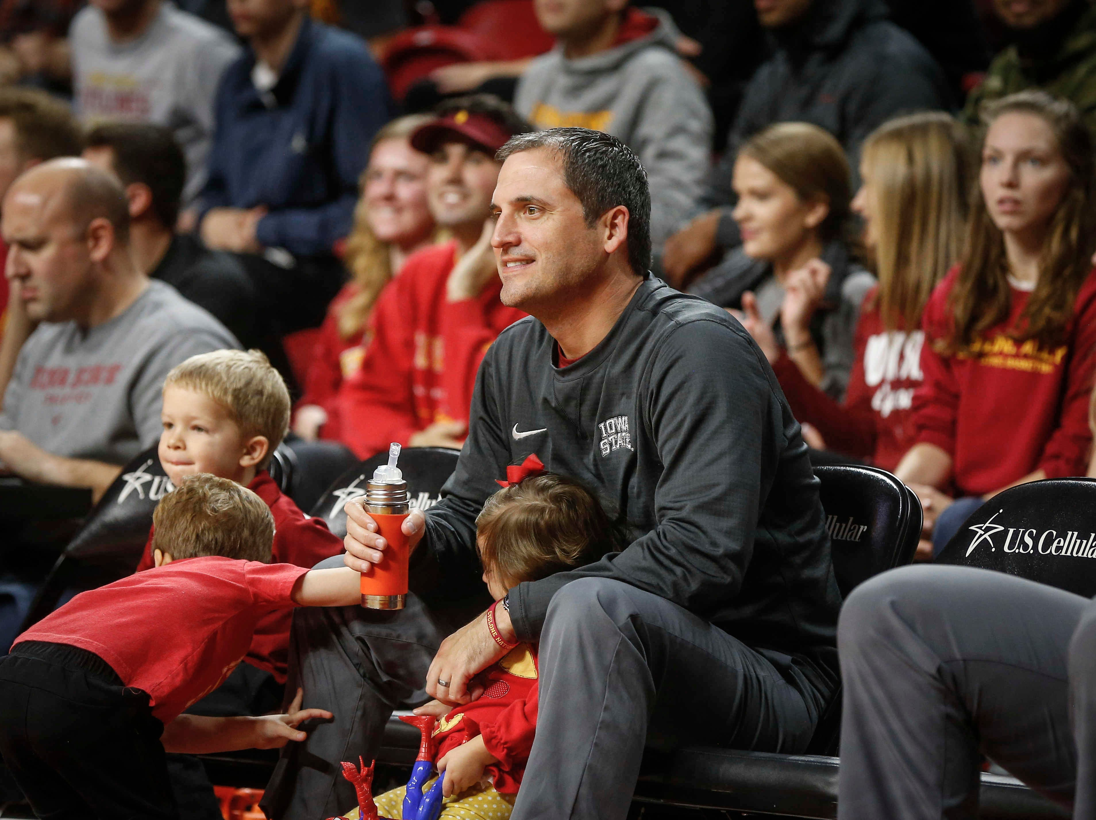 Iowa State head men's basketball coach Steve Prohm watches the shooting competition from the sideline during Hilton Madness at Hilton Coliseum in Ames on Friday, Oct. 12, 2018.